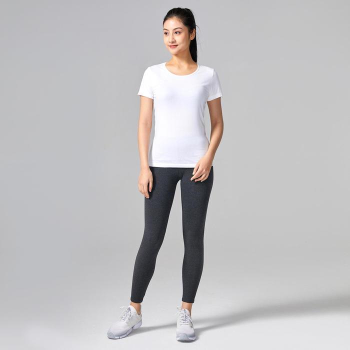 女款純棉皮拉提斯與溫和健身運動T恤100 - 白色