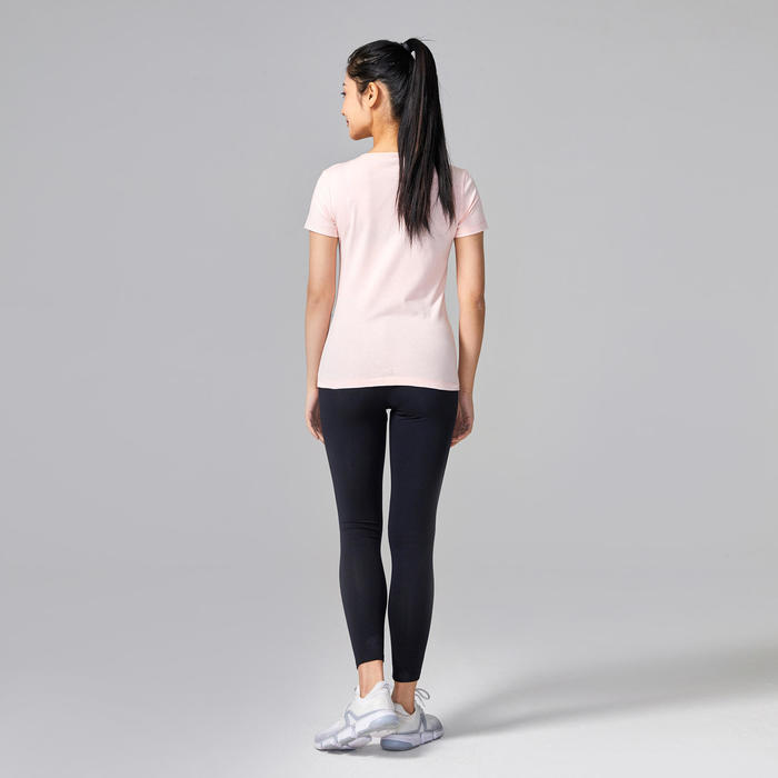 Women's Pilates & Gentle Gym 100% Cotton T-Shirt - Pink