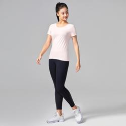 女款皮拉提斯與溫和健身純棉T恤 - 粉色