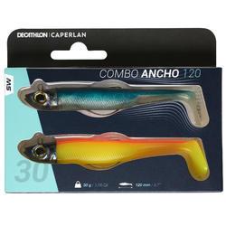 COMBO leurres shad texan anchois ANCHO 120 30gr bleu/orange