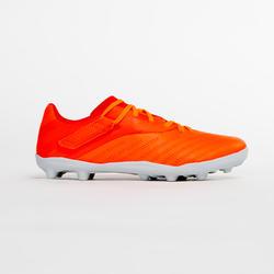 Kids' Rip-Tab Firm Ground Football Boots Agility 140 FG - Burgundy/Orange
