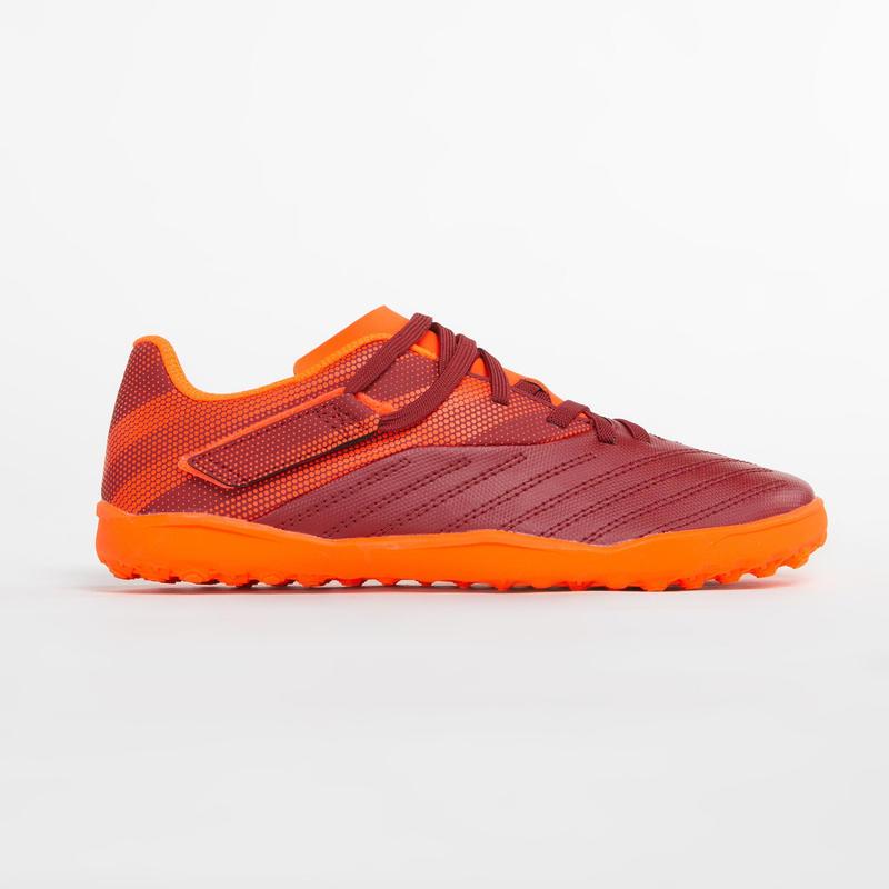 兒童碎釘足球鞋Agility 140 HG-酒紅和橘色配色