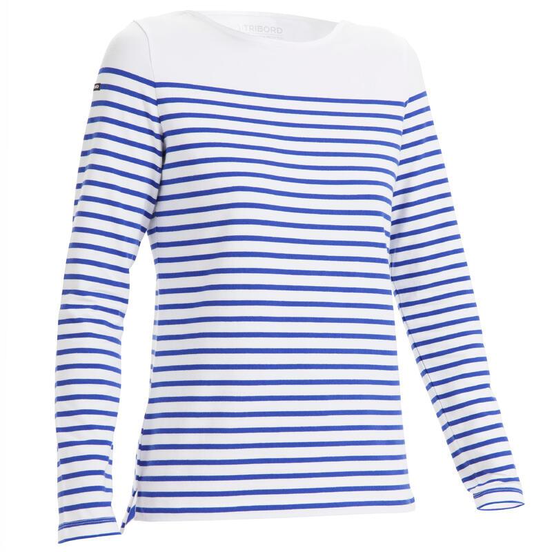 Women's Sailing Long Sleeve T-Shirt Sailing 100 - White Indigo