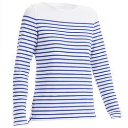 Camisola de vela mulher SAILING 100 Branco índigo