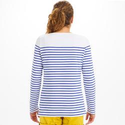 Streepjesshirt met lange mouwen voor dames Sailing 100 wit/indigoblauw