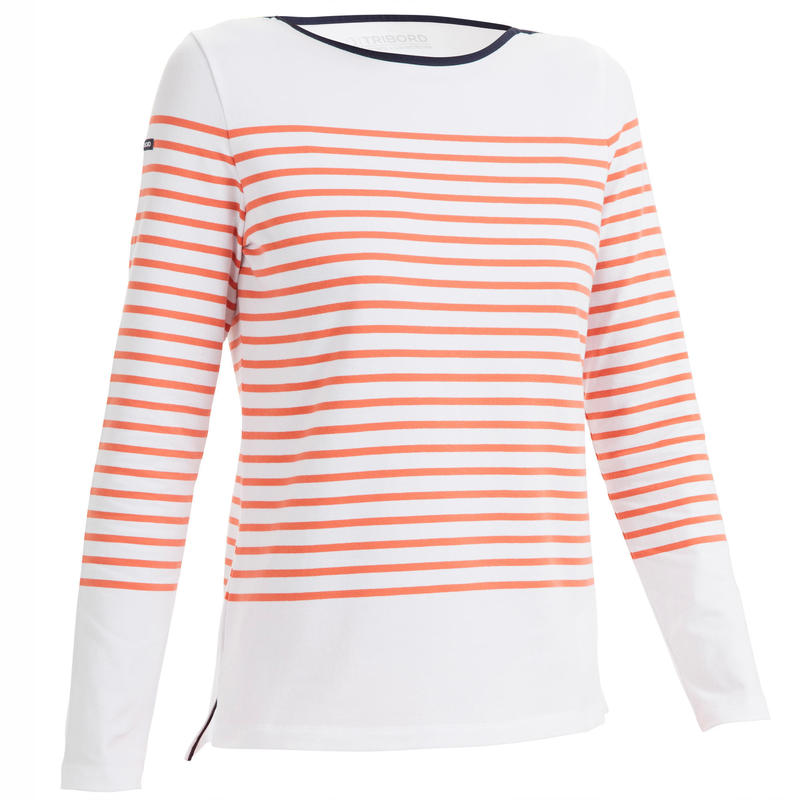 Streepjesshirt met lange mouwen voor dames Sailing 100 rood