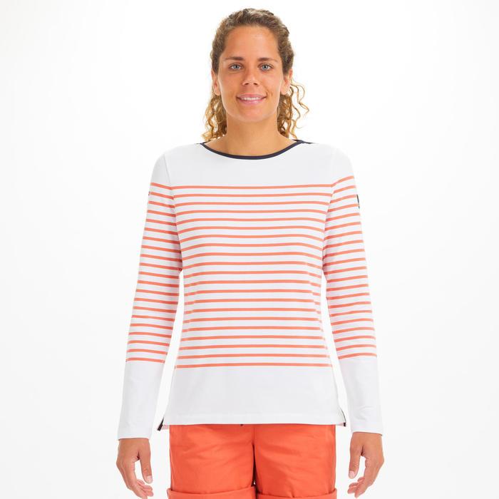 T-Shirt Manches longues de voile femme SAILING 100 Blanc rouge