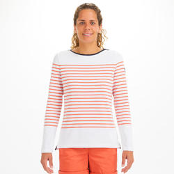 Zeilshirt voor dames met lange mouwen Sailing 100 wit/rood