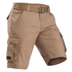 Men's Travel Trekking Cargo Shorts - TRAVEL 100 - Brown