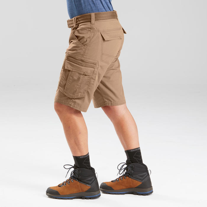Short cargo de trek voyage - TRAVEL 100 marron homme