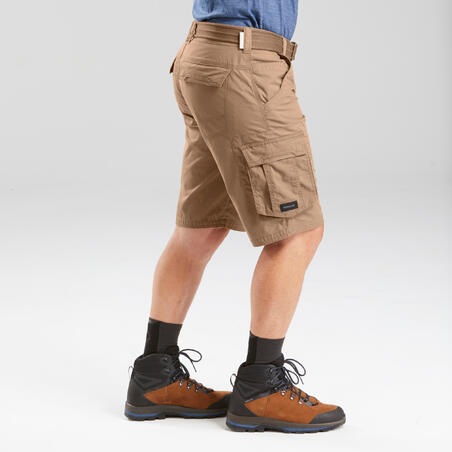 Celana pendek trekking perjalanan pria - TRAVEL 100 - coklat