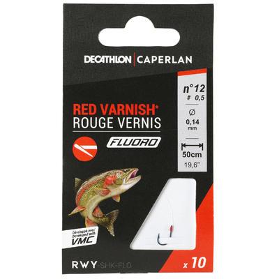 SN HOOK Fluoro Red Varnish Rigged Fishing Hooks