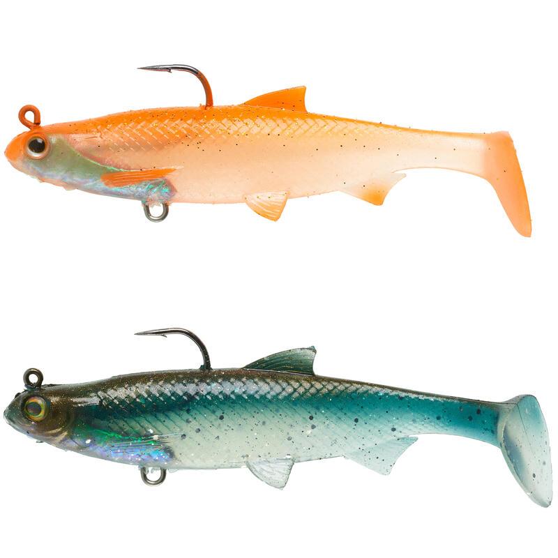 Kit shad pesca artificiali morbidi ROACH RTC 90 arancione / dorso azzurro