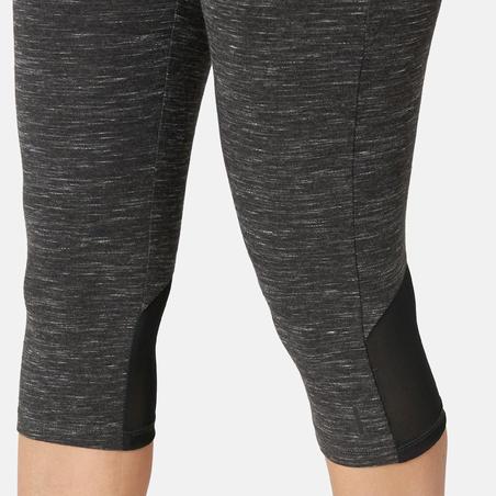 Women's Slim-Fit Pilates & Gentle Gym Sport Cropped Bottoms 520 - Mottled Black