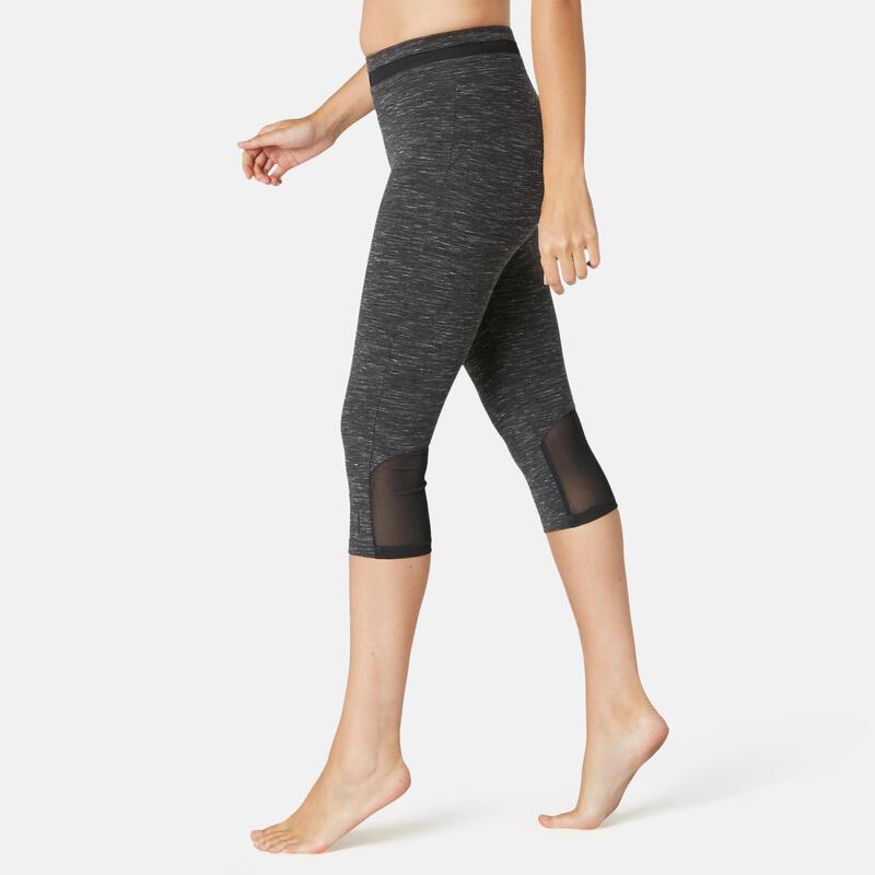 Kuitbroek voor pilates en lichte gym dames 520 slim fit gemêleerd zwart