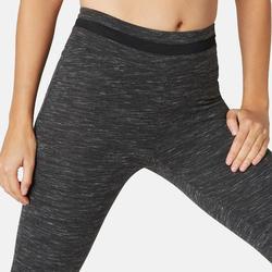 Corsaire Sport Pilates Gym Douce Femme 520 Slim Noir Chiné