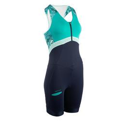 Triathlon Anzug SD Damen ärmellos blau/grün