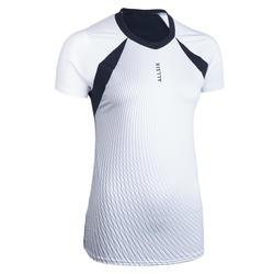 Camisola de Voleibol Mulher VTS500 Branco/Azul-marinho
