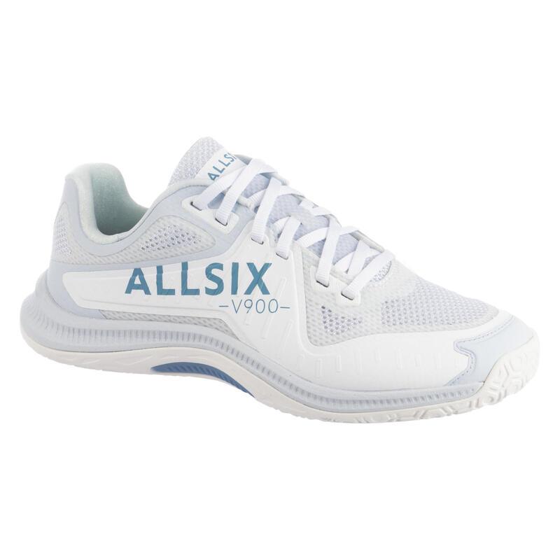 Chaussures de volley-ball pour joueuse experte, blanches, grises et bleues