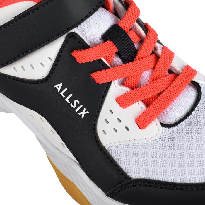 Chaussures de volley-ball fille à scratch blanches, bleues et roses