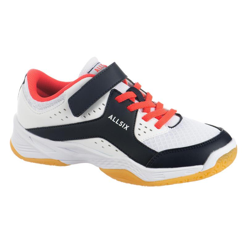 Chaussures de volley-ball enfant à scratch blanches, bleues et roses