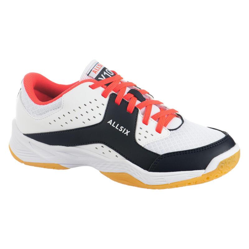 Zapatillas Voleibol Allsix VS100 Niños blancas azules rosas