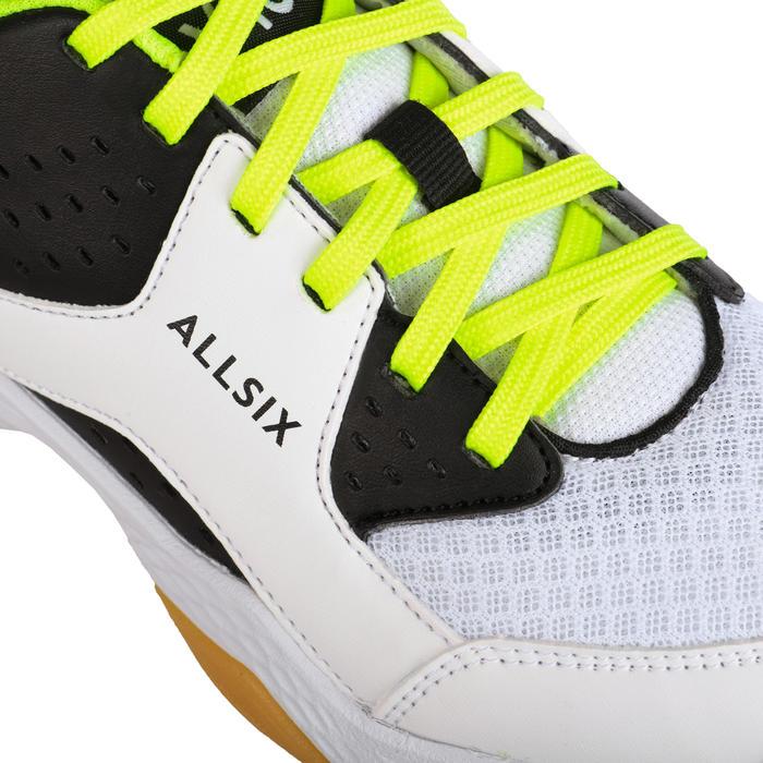 Chaussures de volley-ball garçon à lacets blanches, noires et jaunes