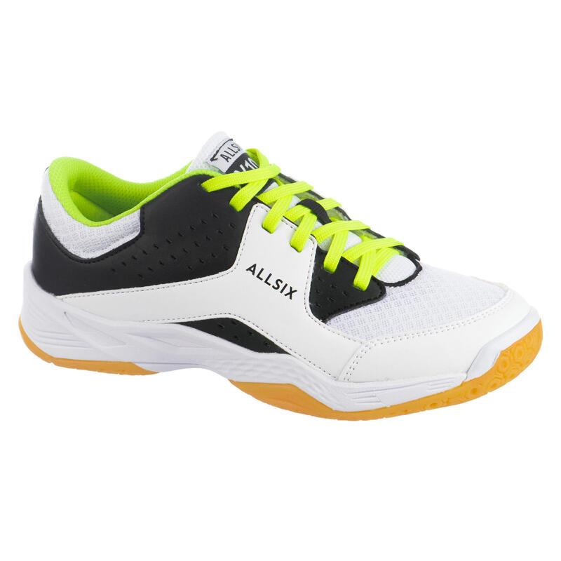 Chaussures de volley-ball enfant à lacets blanches, noires et jaunes