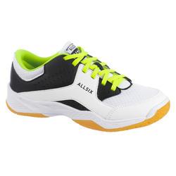 Volleybalschoenen jongens veters wit, zwart en geel