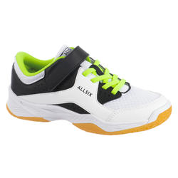 Chaussures de volley-ball junior garçon à scratch blanches, noires et jaunes
