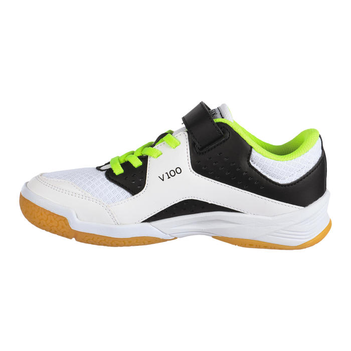 Chaussures de volley-ball fille à scratch blanches, noires et jaunes
