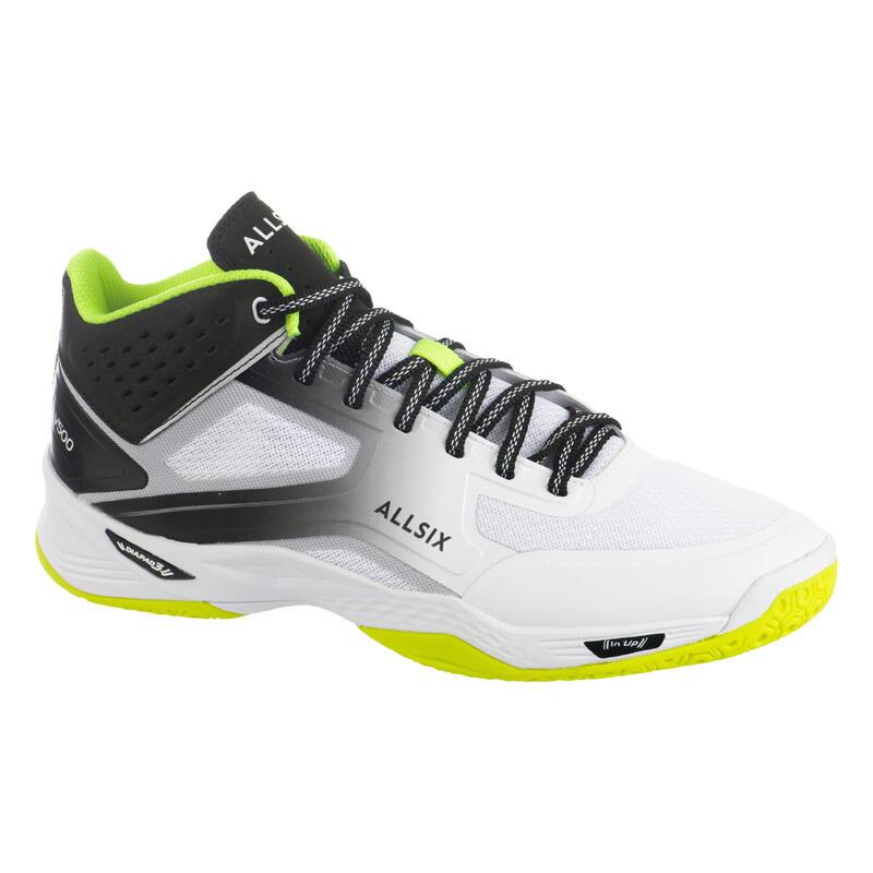 Chaussures de volley-ball Mid pratiquant régulier, blanches, jaunes et noires