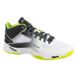 Calçado de Voleibol Homem V500 Mid Branco, Amarelo e Preto