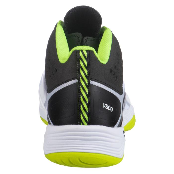 Halfhoge volleybalschoenen voor heren V500 wit/geel/zwart