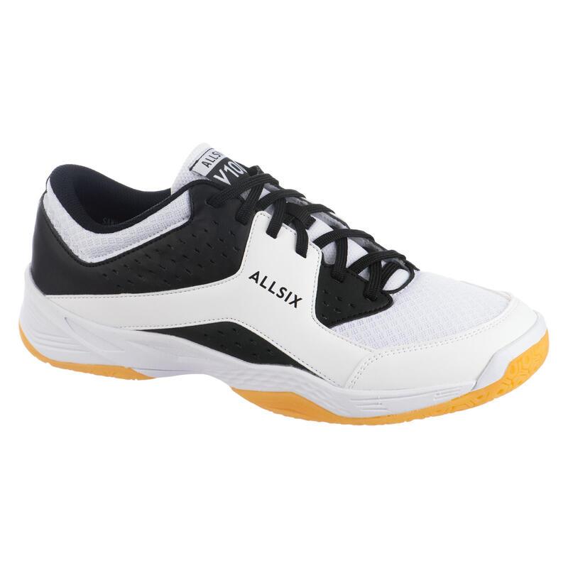 Chaussures de volley-ball pour homme débutant, noires et blanches
