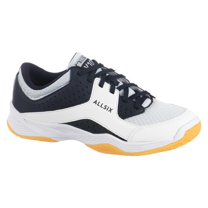 Volleybalschoenen dames V100 wit, blauw en grijs