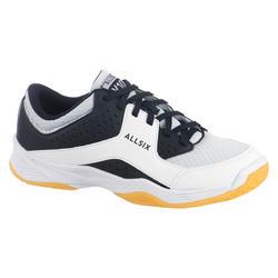 Volleybalschoenen voor dames V100 wit, blauw en grijs