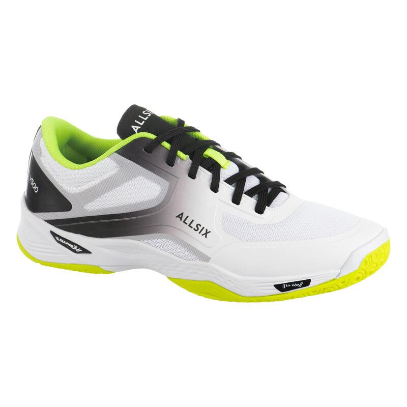 Chaussures de volley-ball pour pratiquant régulier blanches, jaunes et grises