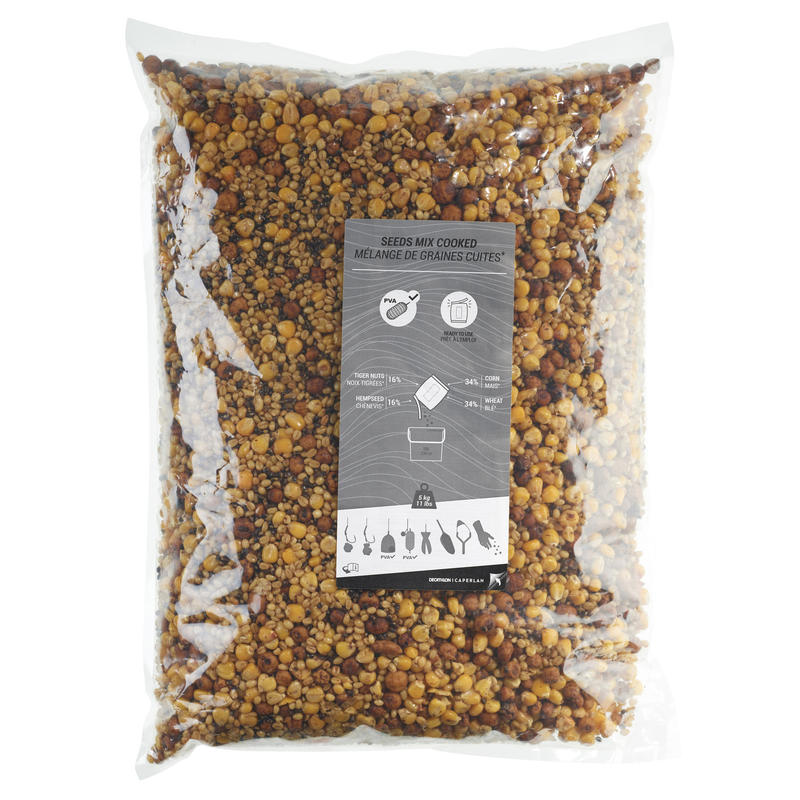 Graines pêche de la carpe Sac 5kg mélange graines cuites