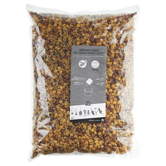 Zak van 5 kg mix van gekookte korrels voor karpervissen