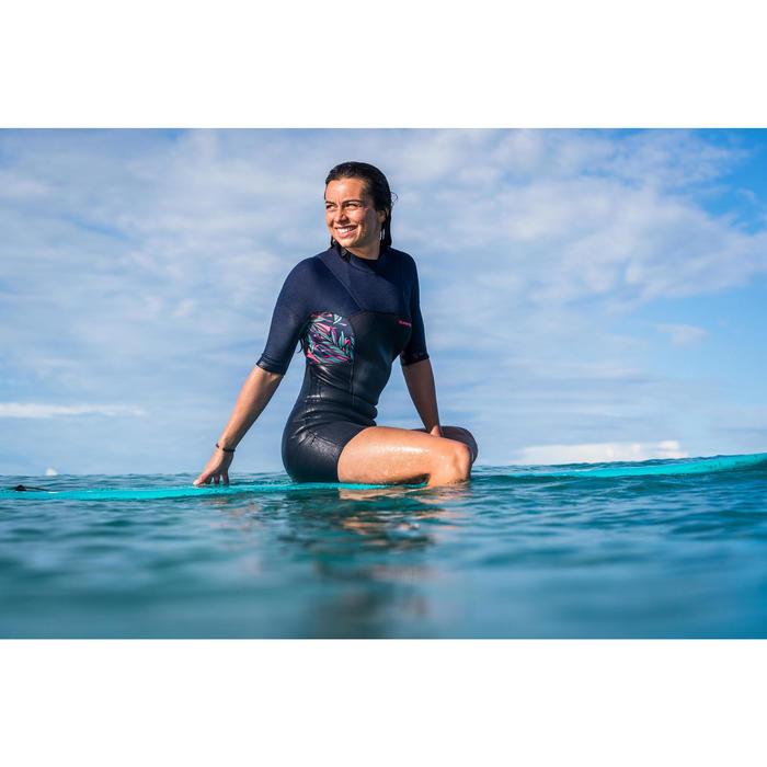 Shorty voor surfen dames 500 WAKU rugrits korte mouwen