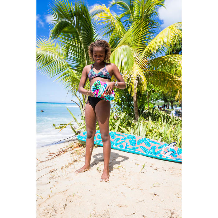Cueca de Bikini de Surf MALOU 500 Menina Preto