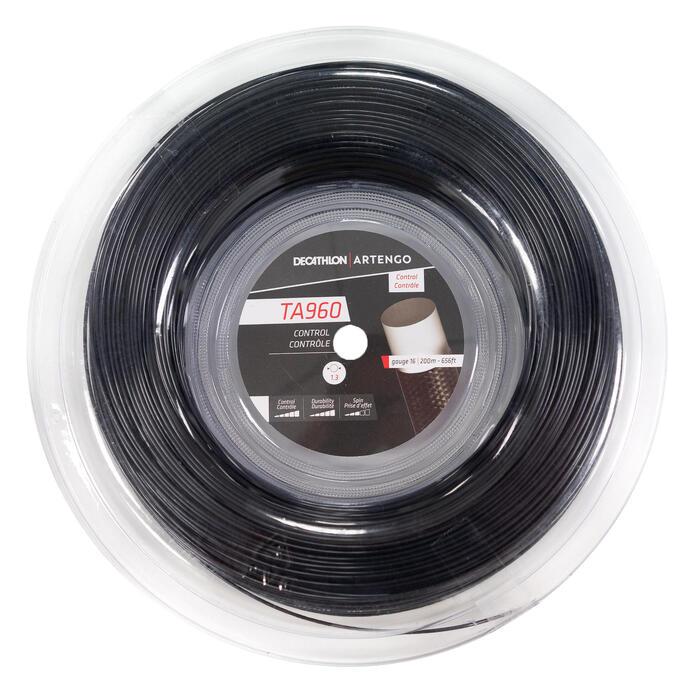 BOBINE DE CORDAGE DE TENNIS MONOFILAMENT TA 960 Control 1.3 mm NOIR.