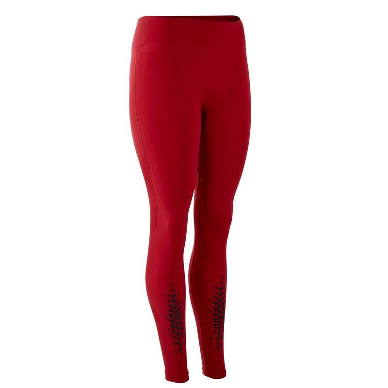 Naadloze legging voor crosstraining dames bordeaux