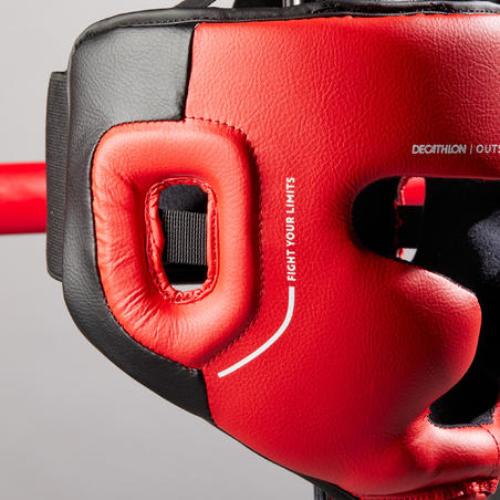 Kids' Boxing Full Face Headguard 500 - Red