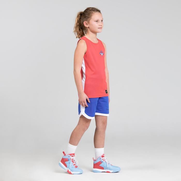 男女兒童款中階雙面籃球短褲SH500R-粉藍配色