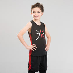 兒童款中階籃球運動衫T500-紅黑配色