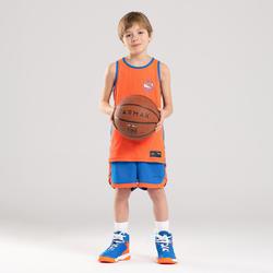 兒童款中階雙面籃球短褲SH500R-藍色/橘色