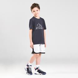Boys'/Girls' Intermediate Reversible Basketball Shorts SH500R - White/Black