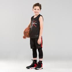 兒童款中階籃球短褲SH500-紅黑配色